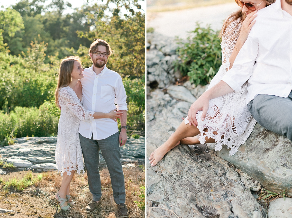 boho engagement session newport