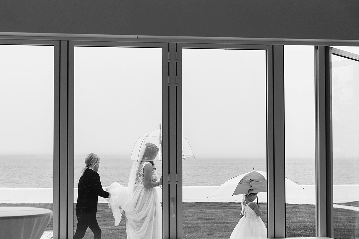 rainy wedding belle mer