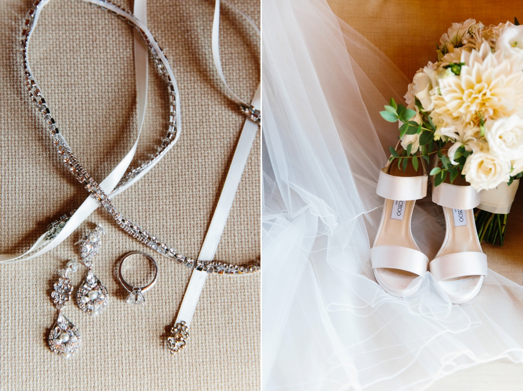 detail shots of jewelry with jimmy choo shoes and a bouquet shot at castle hill inn newport by Erin McGinn Photography