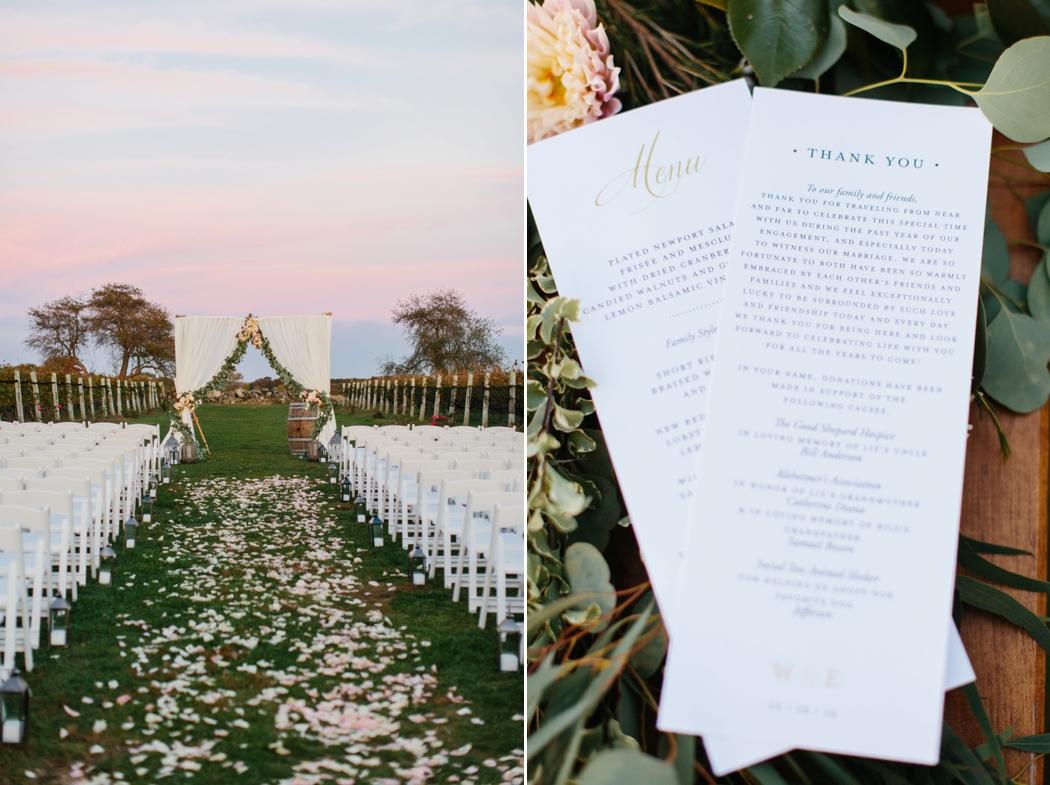 ceremony details at dusk