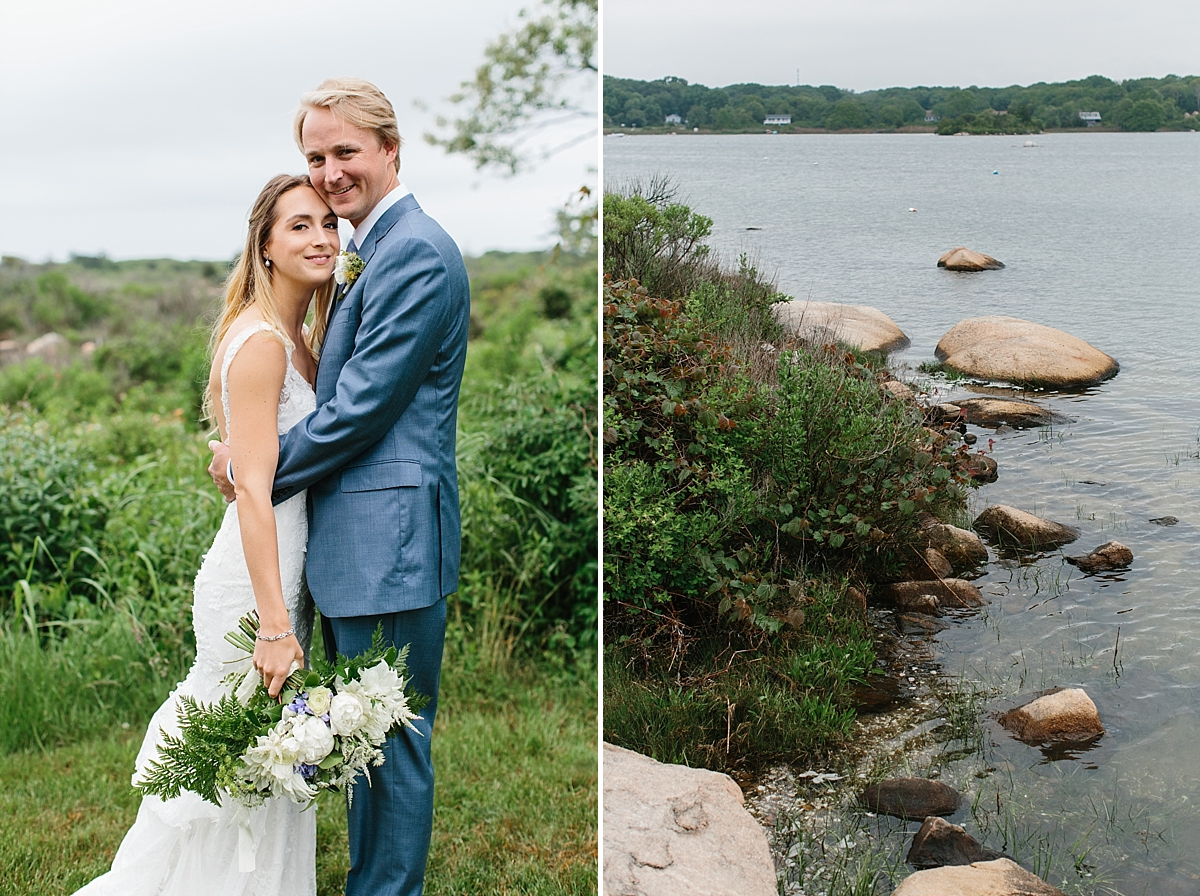 bride and groom portraits at weekapaug inn