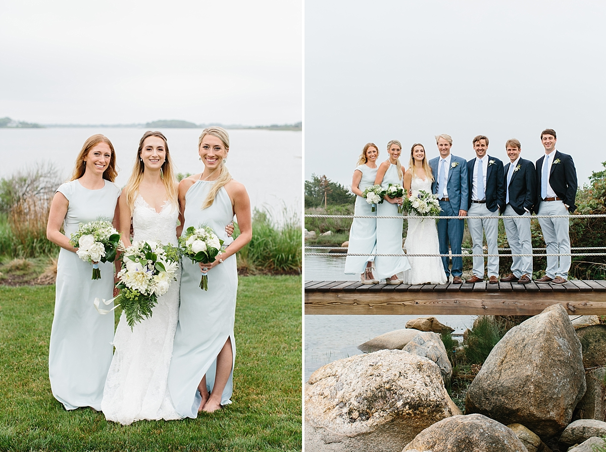 bridal party portraits at weekapaug inn
