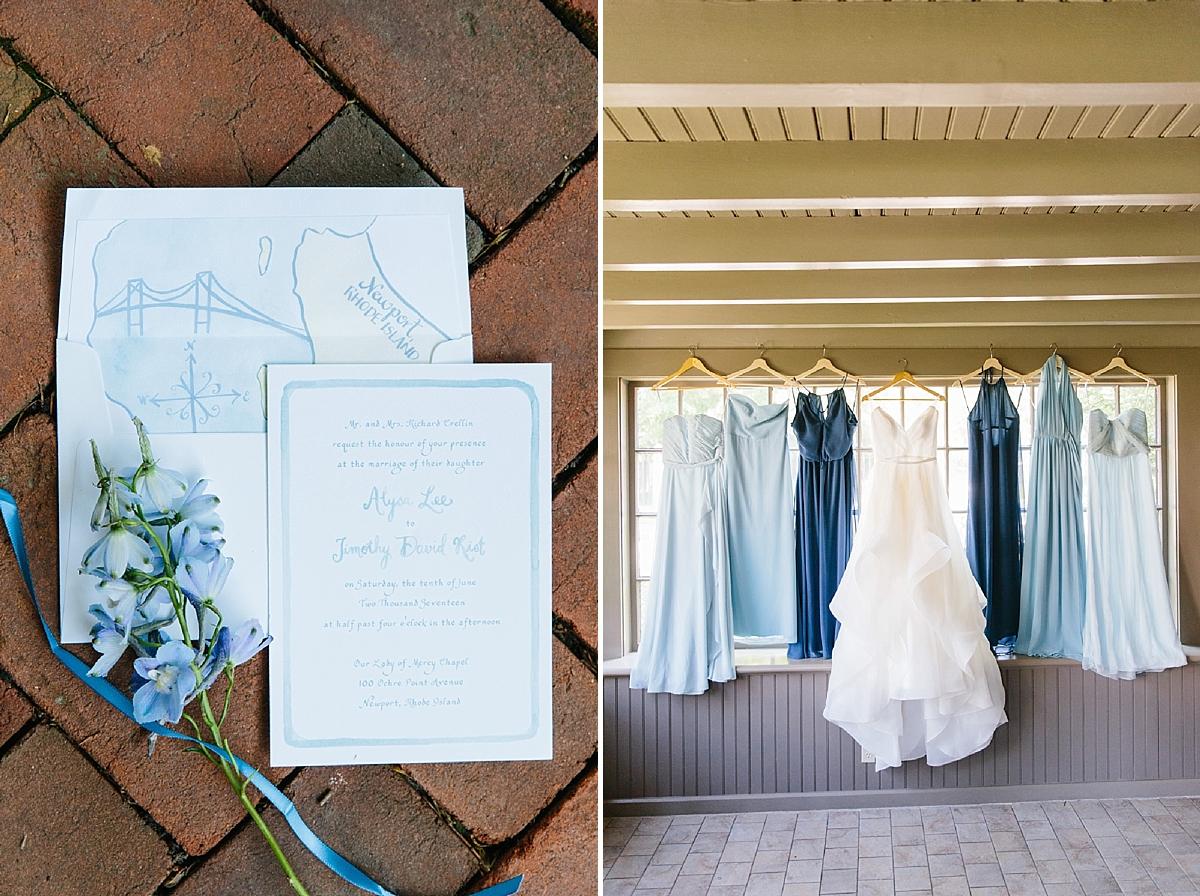 blue ombre bridesmaids dresses