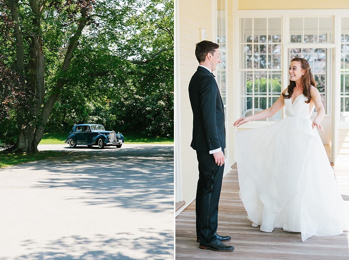 bride and groom at eisenhower house fort adams