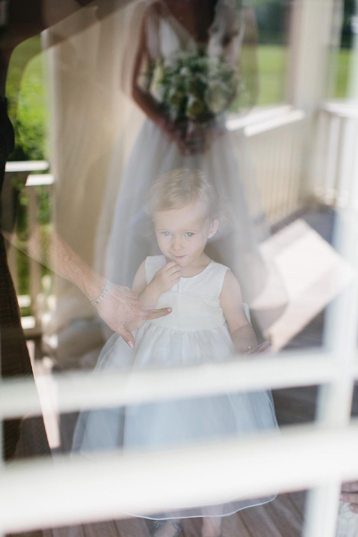 reflection of flower girl