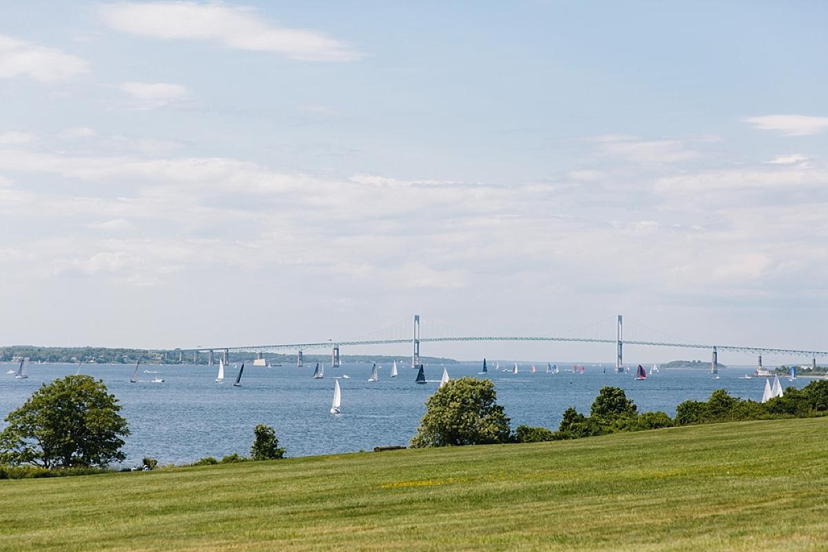 view of newport bridge from fort adams