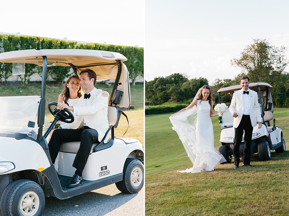 wedding couple in golf cart at carnegie abbey club