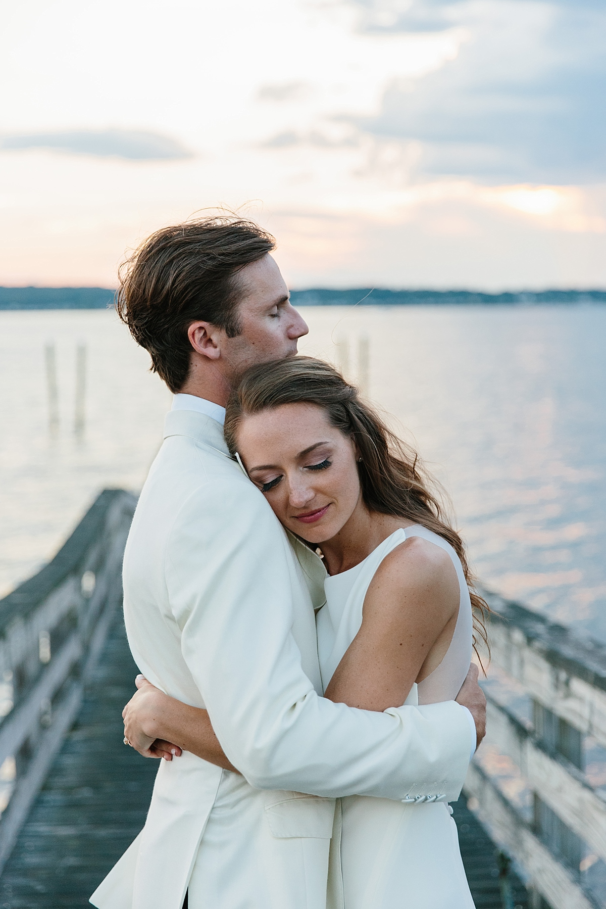 sunset wedding portrait at carnegie abbey club ri