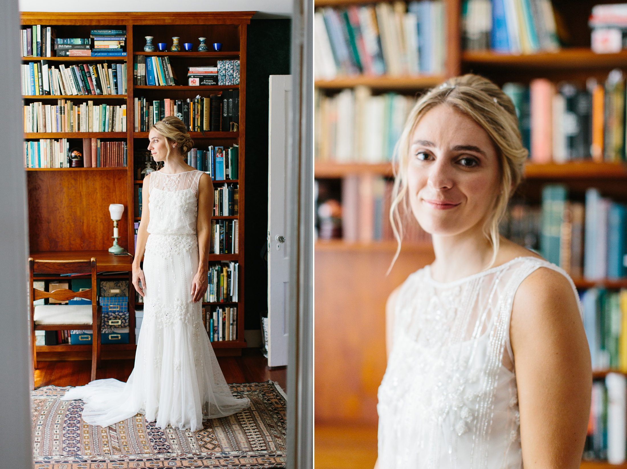bridal portraits in a home library