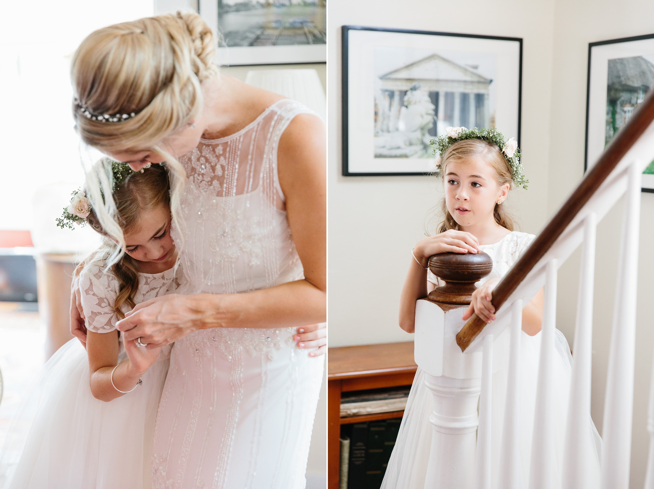 bride with flower girl in embrace