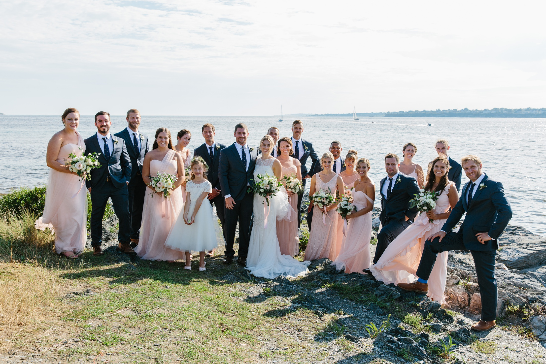 pink and navy bridal party at fort Getty