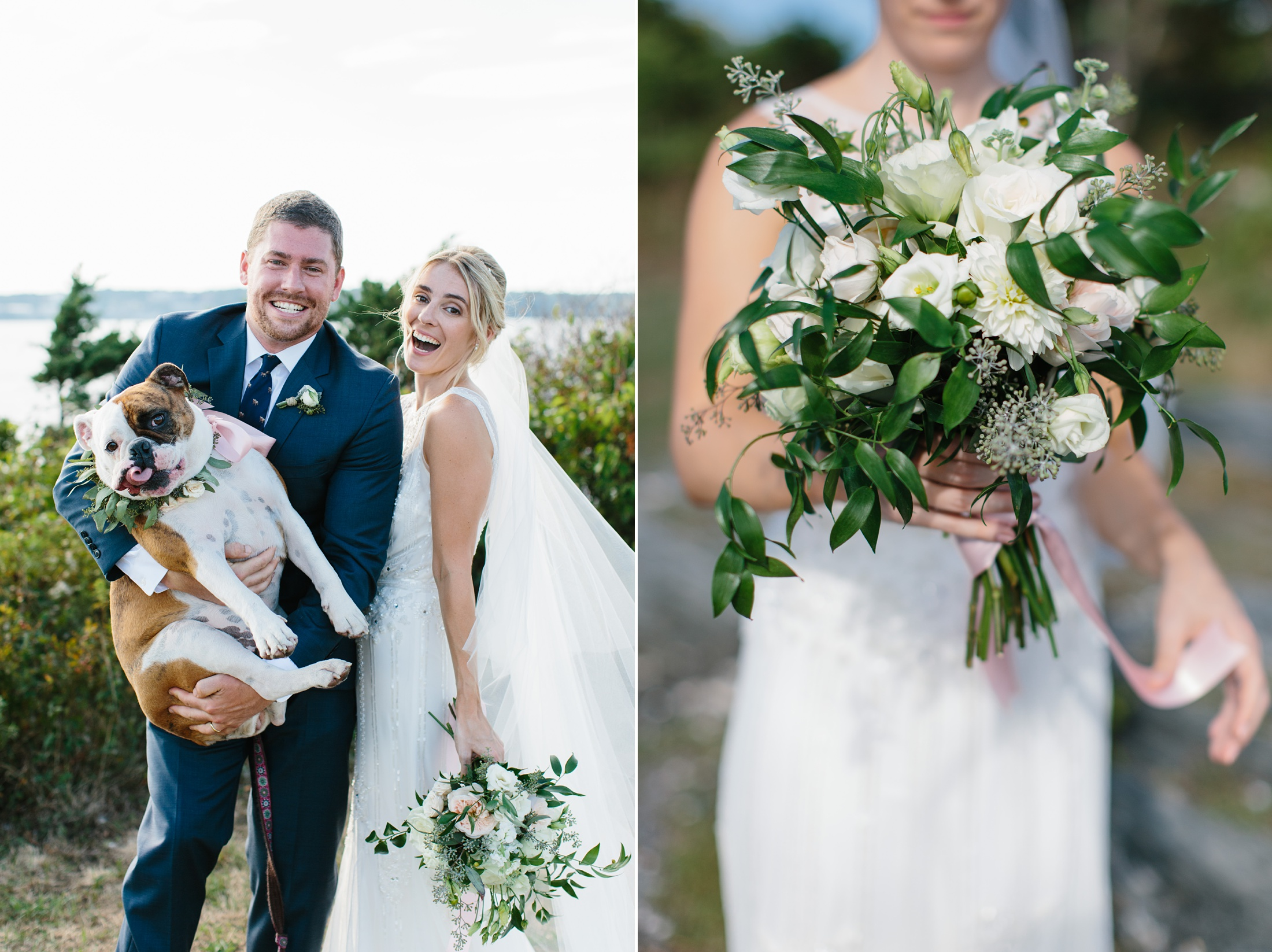 bride and groom with English bulldog at fort Getty
