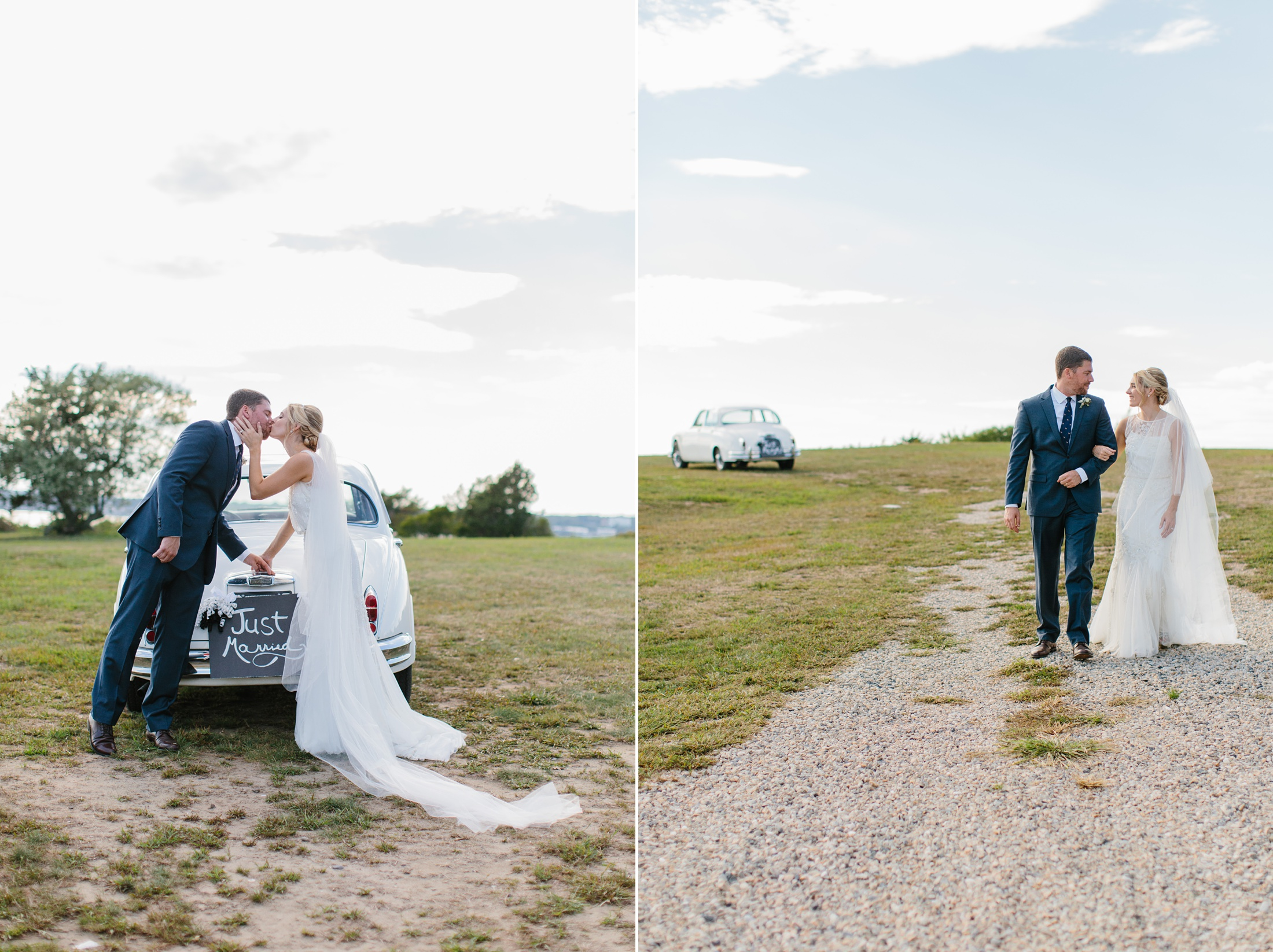 bride and groom with classic rolls Royce