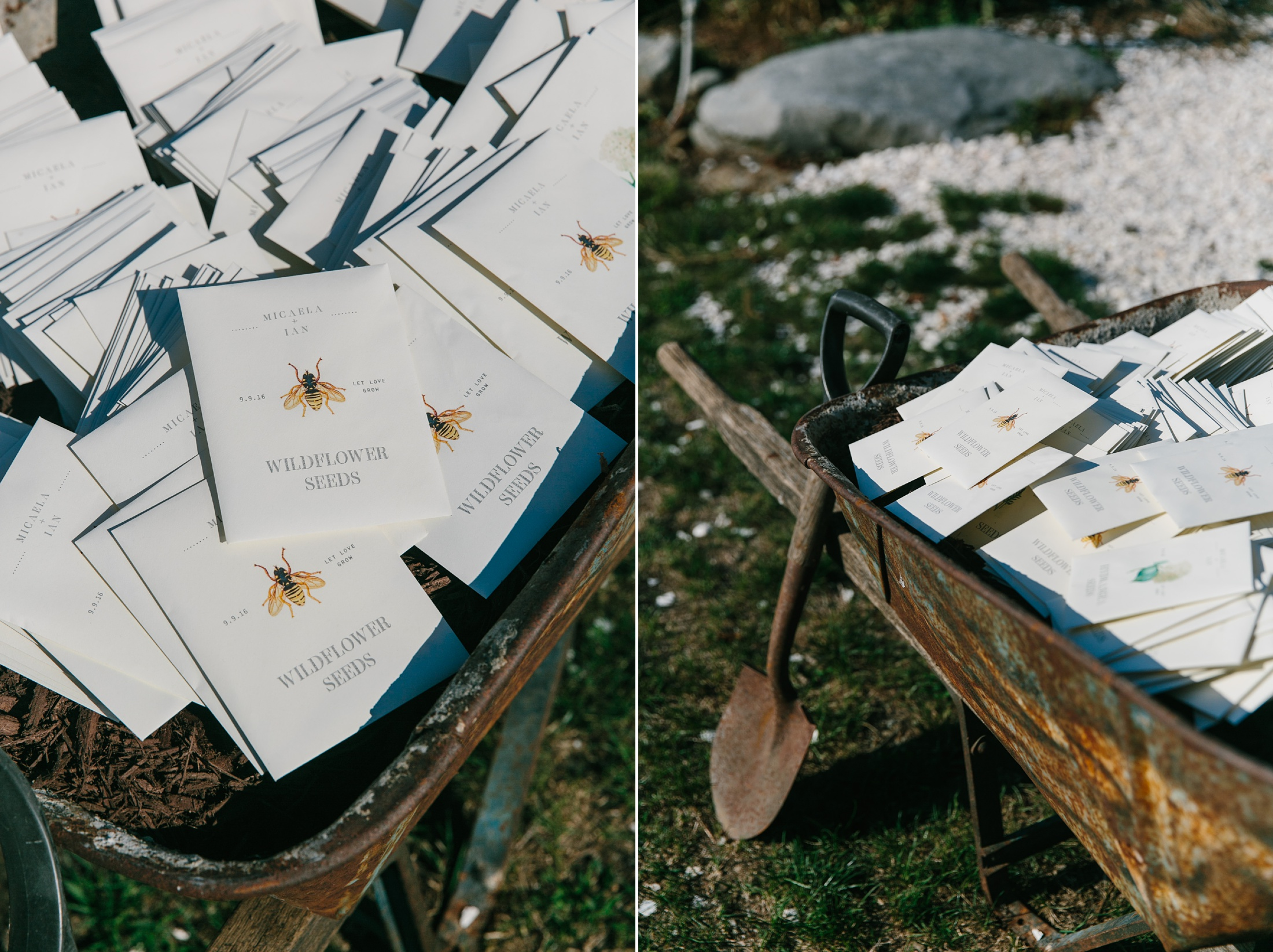 seed packet wedding favors in wheel barrow
