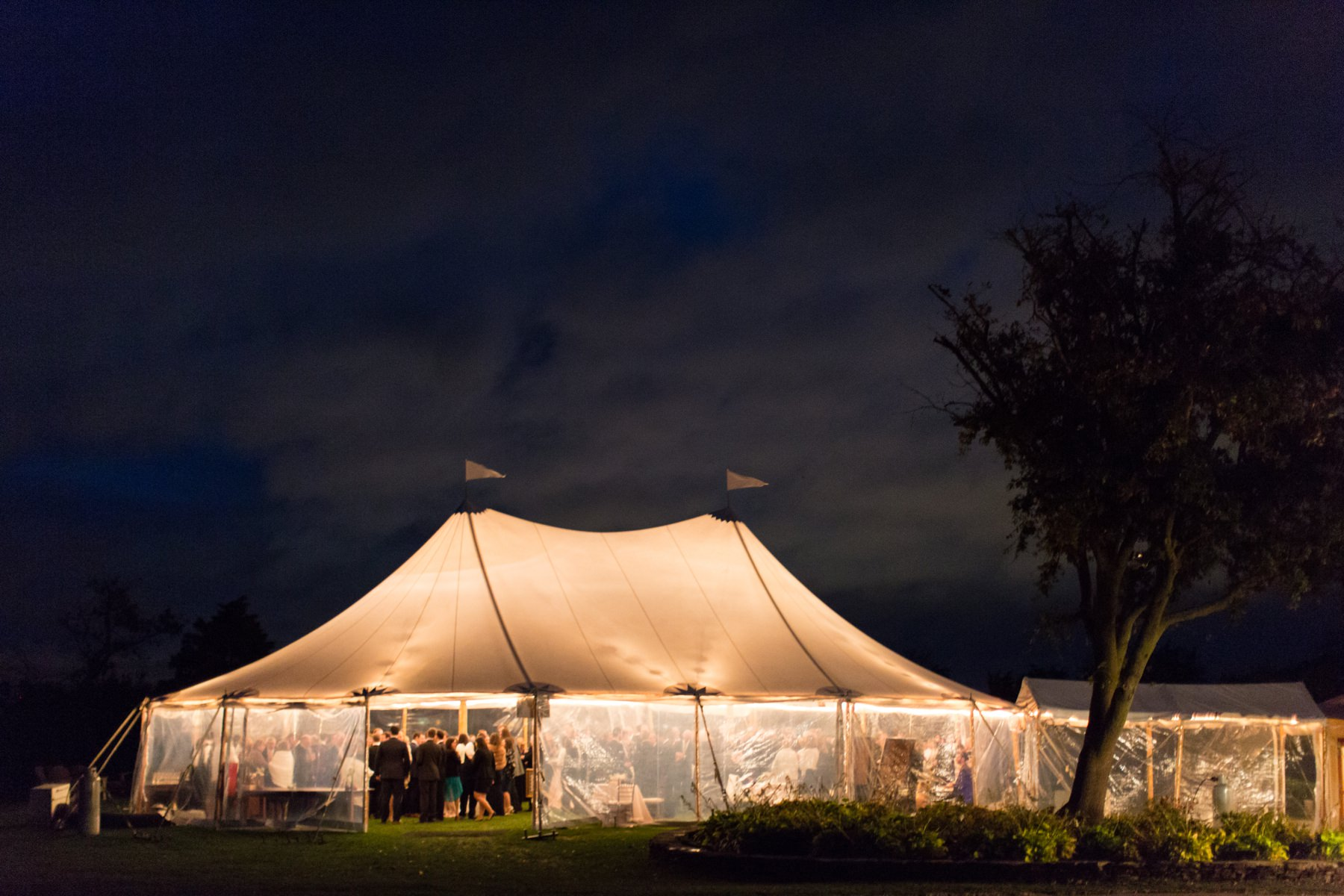 castle hill inn tent at night
