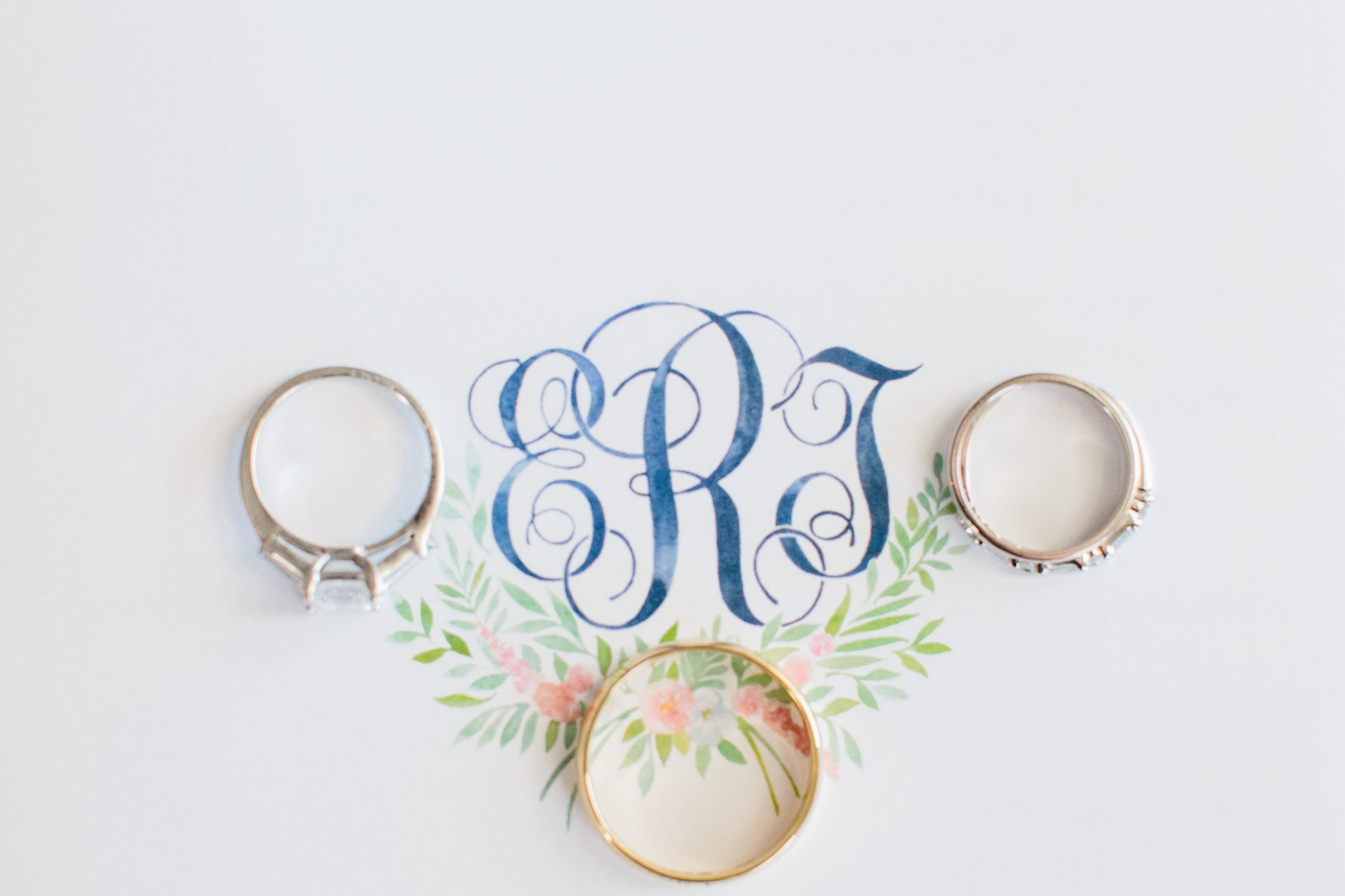 wedding rings with monogram in blue watercolor