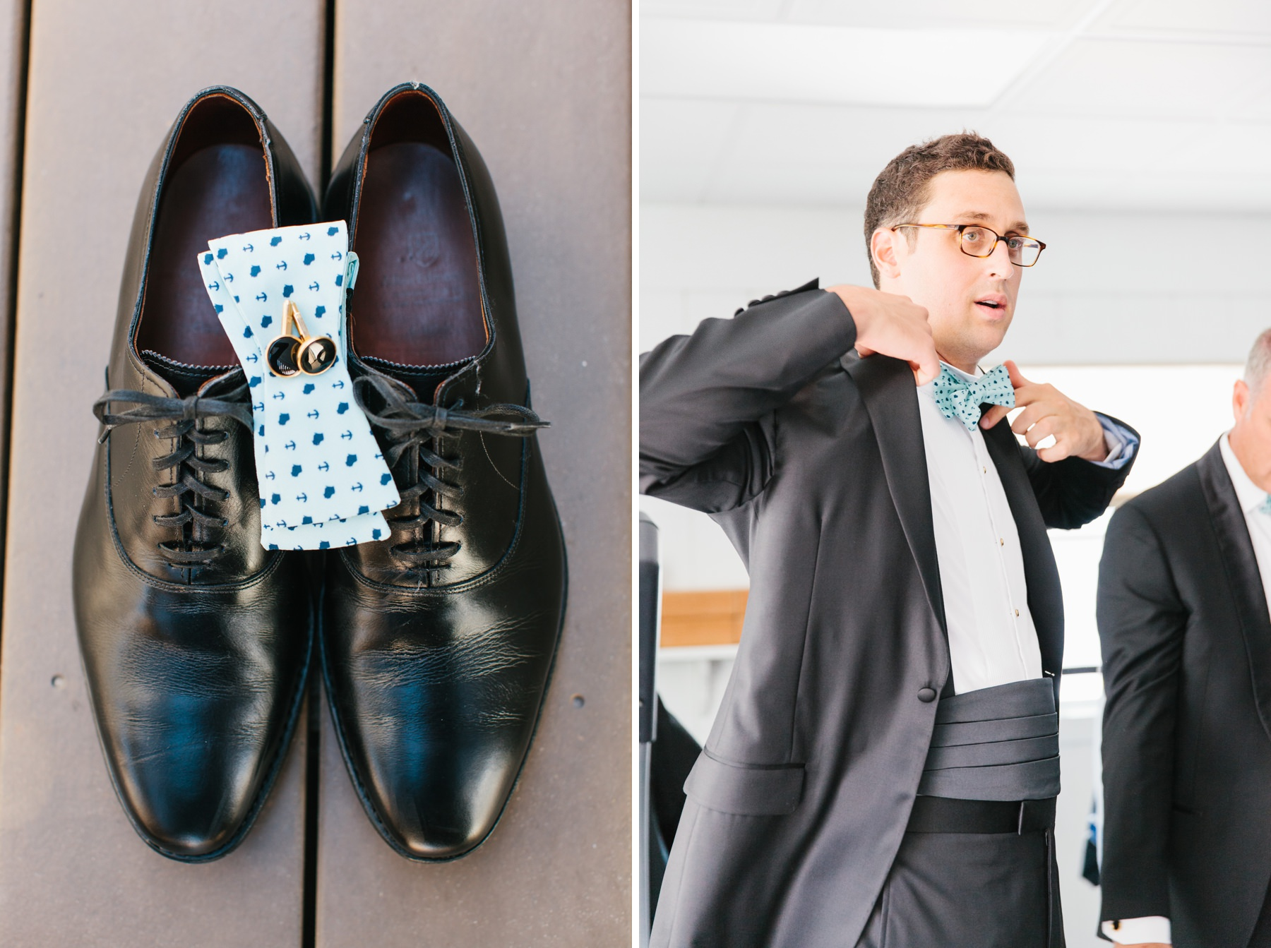 grooms shoes with bowtie, groom putting on jacket