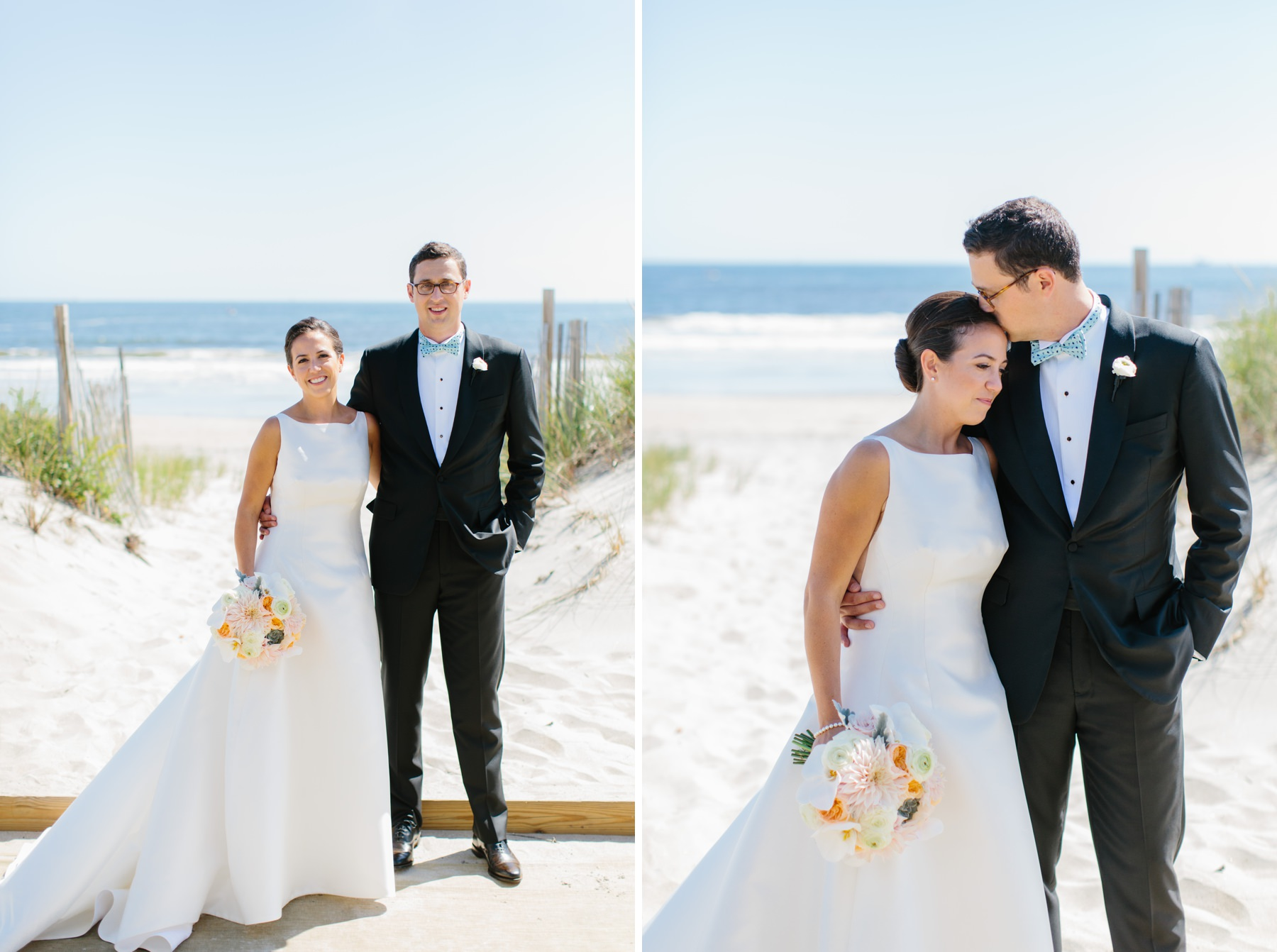 bride and groom on narragansett beach