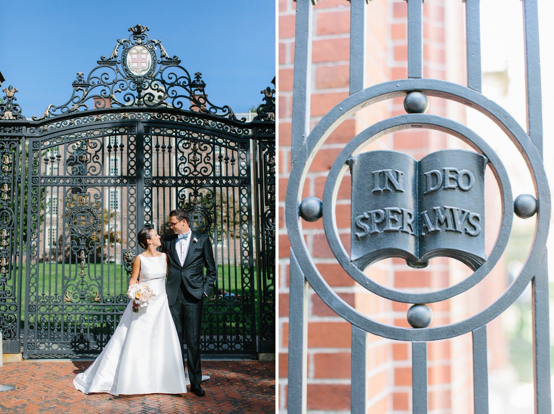 bride and groom at brown university