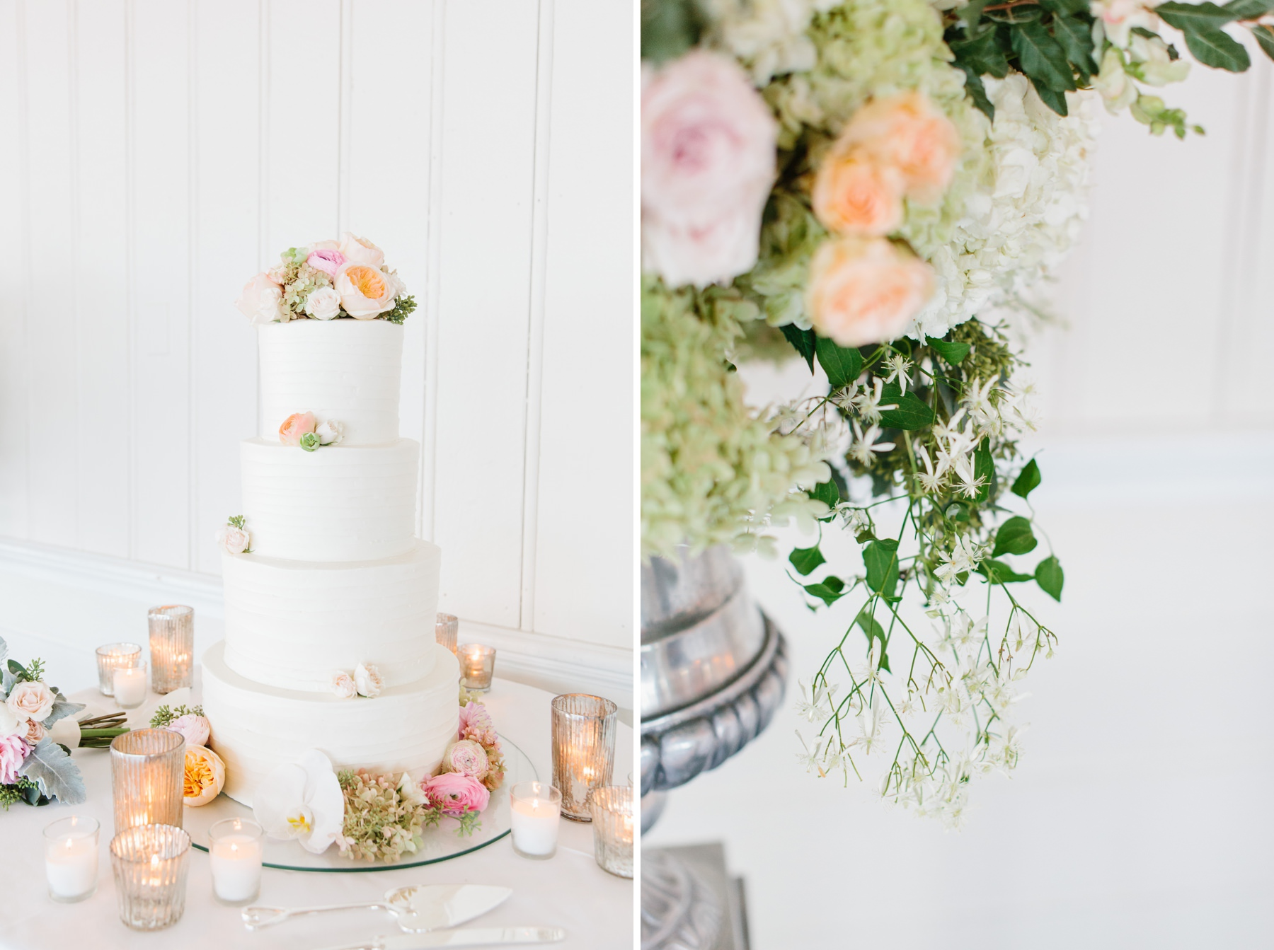 wedding cake with peach and pink flowers