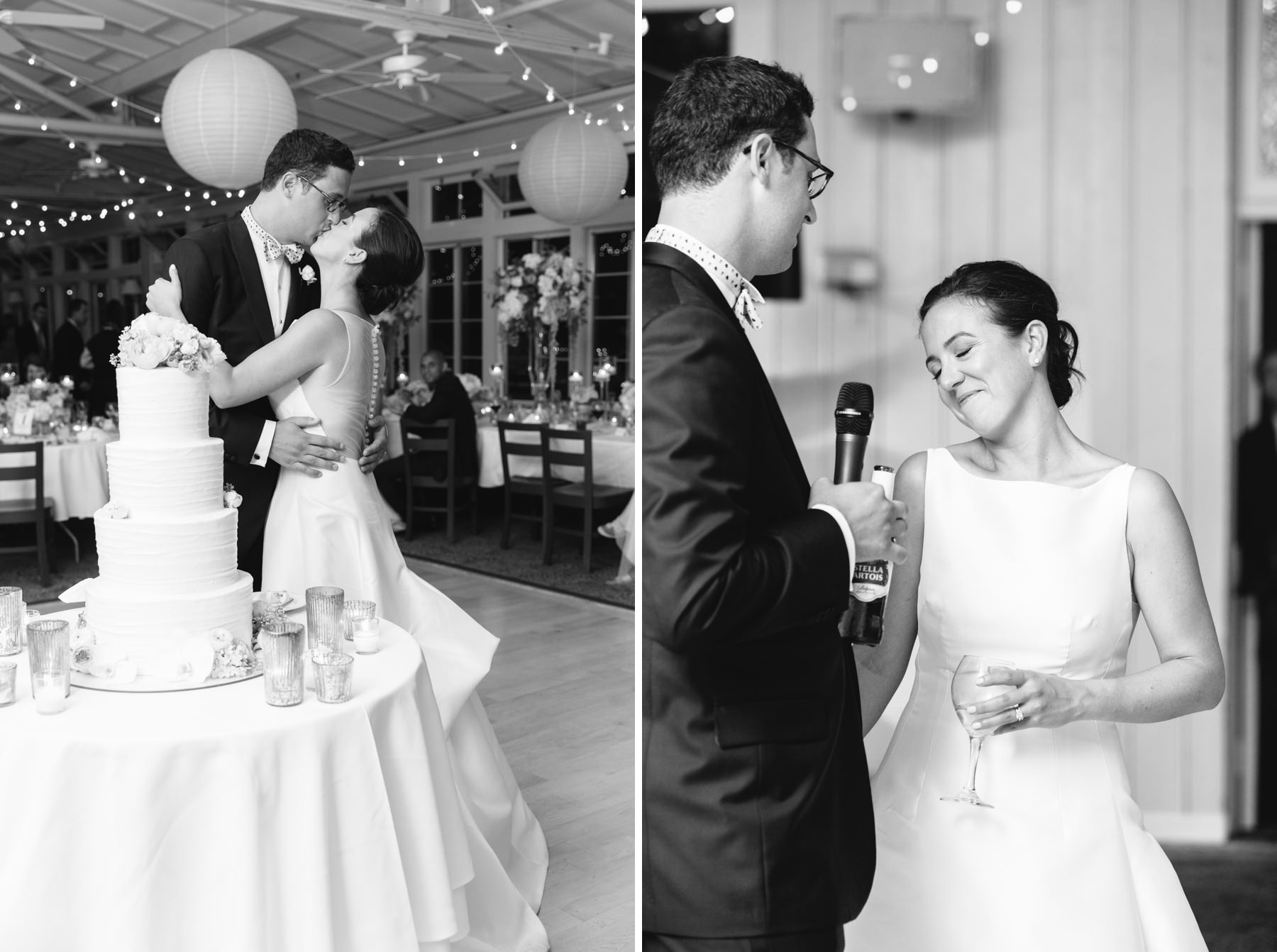 black and white photos of bride and groom cutting cake