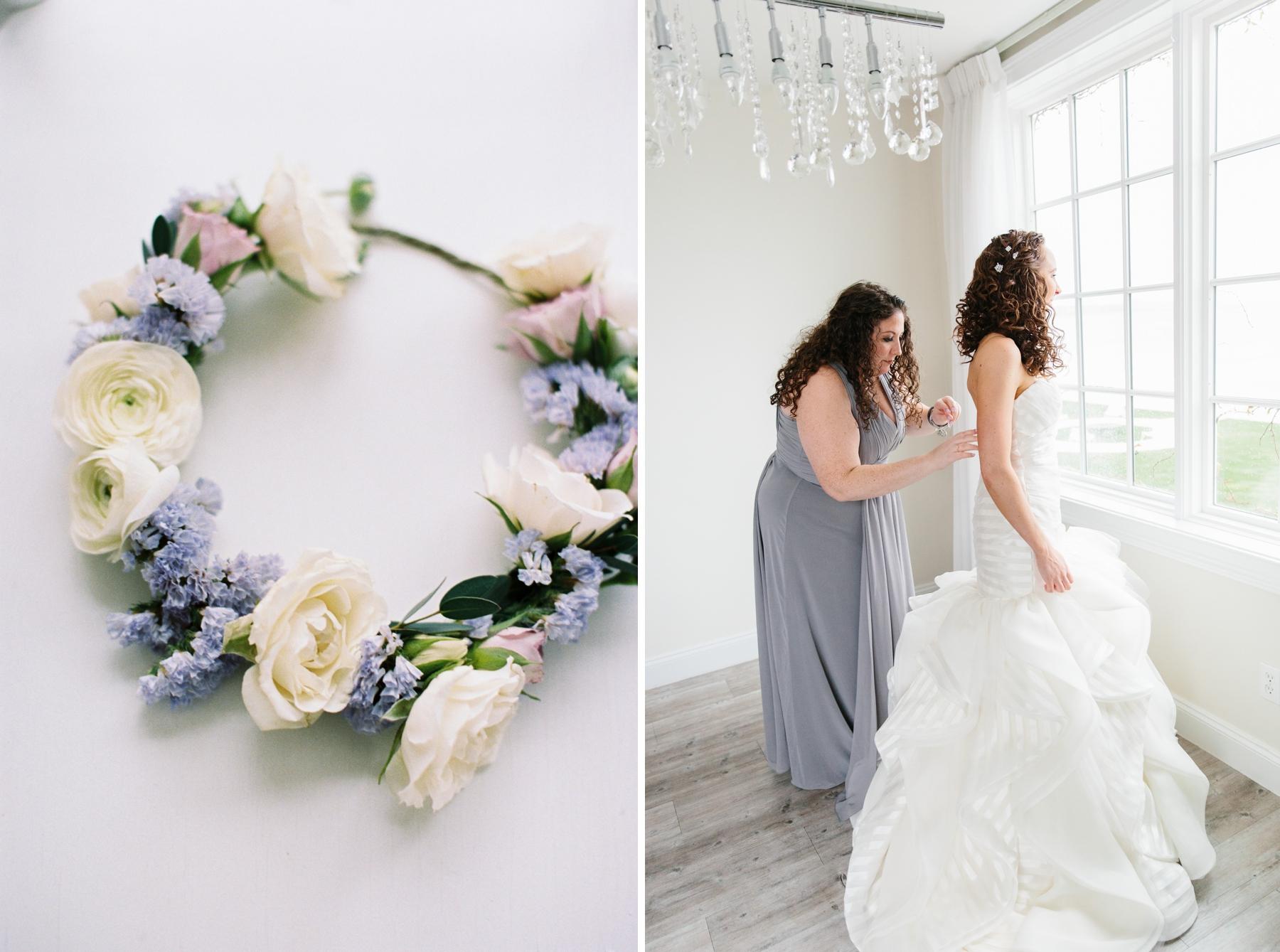bride getting dress zipped belle mer salon
