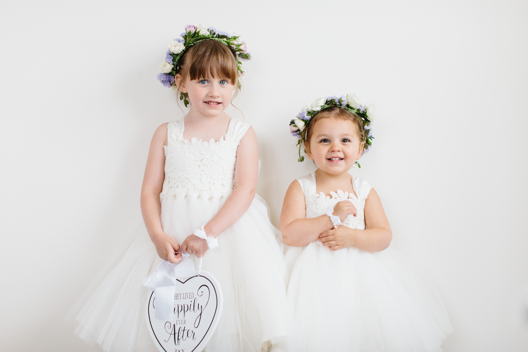 flower girls with purple flower crowns
