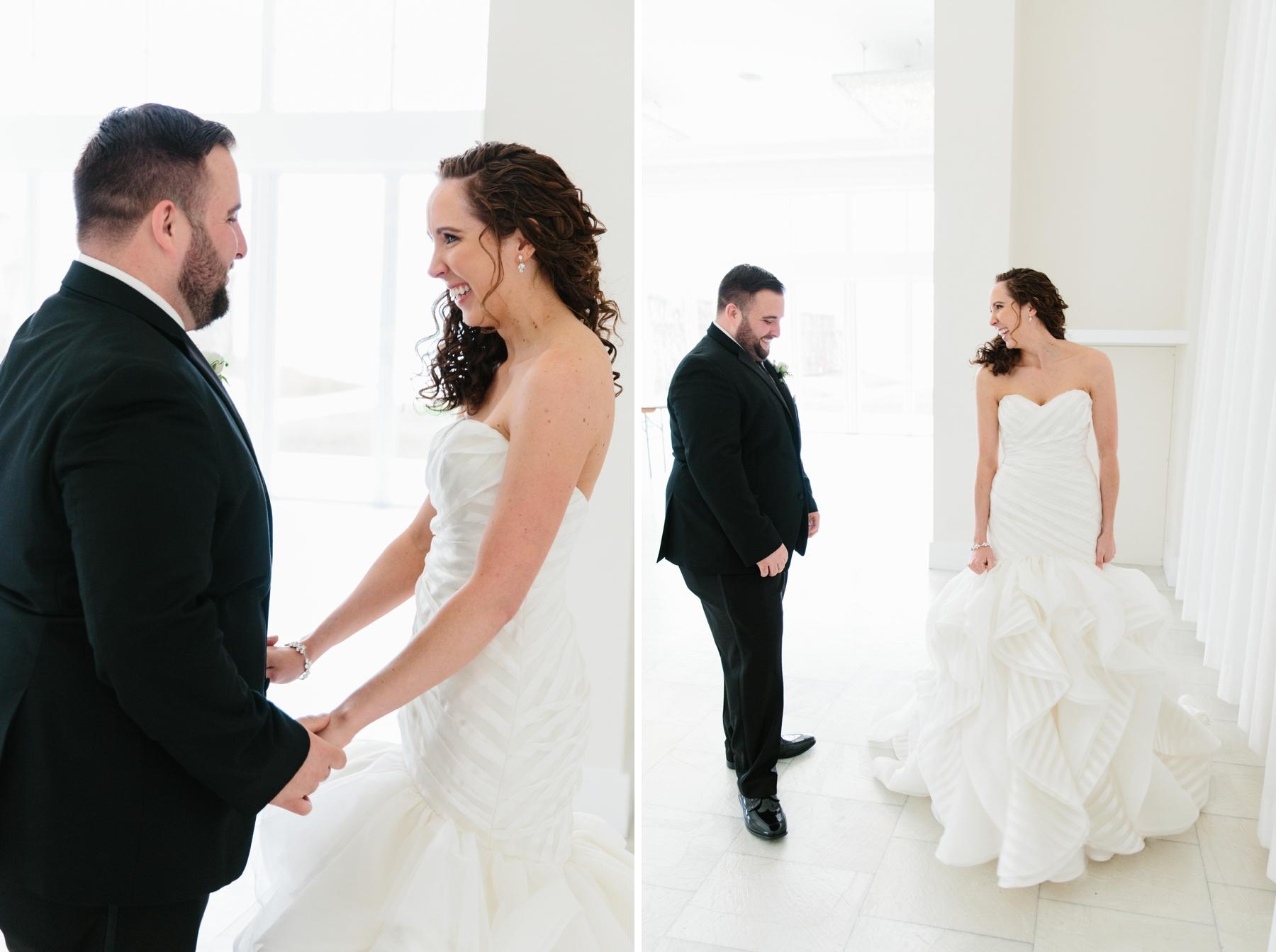bride and groom first look belle mer rain