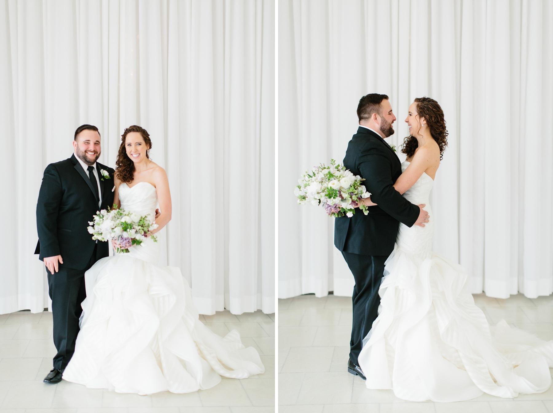 bride and groom in belle mer salon