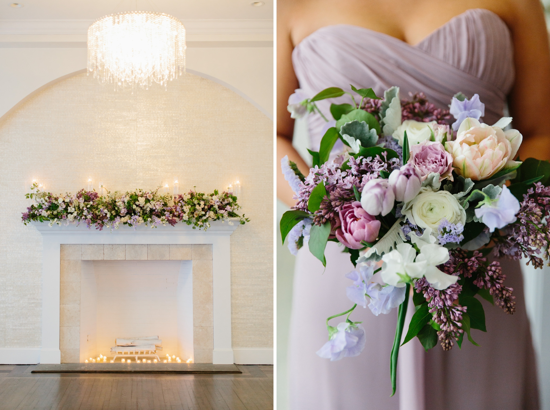 belle mer purple wedding flowers purple dress
