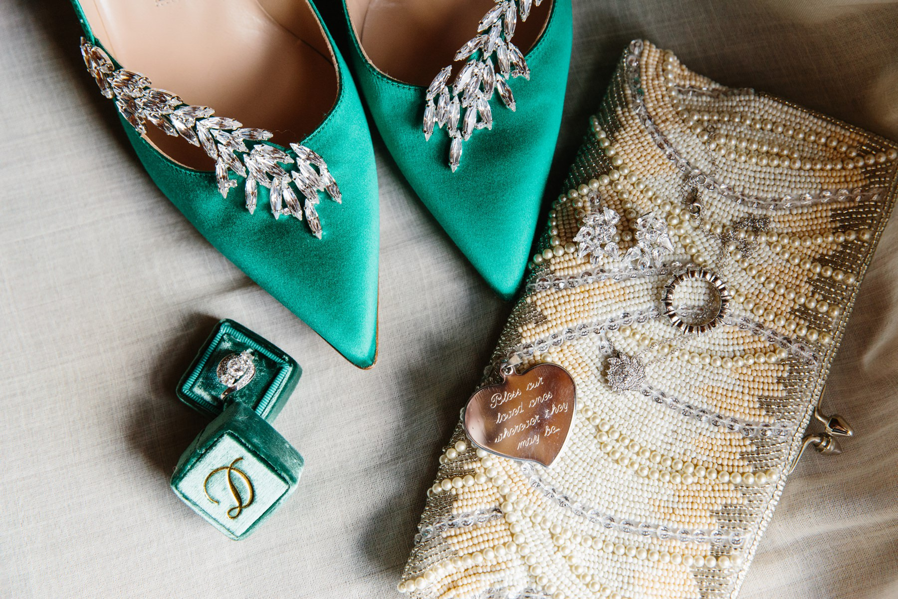 green wedding shoes details