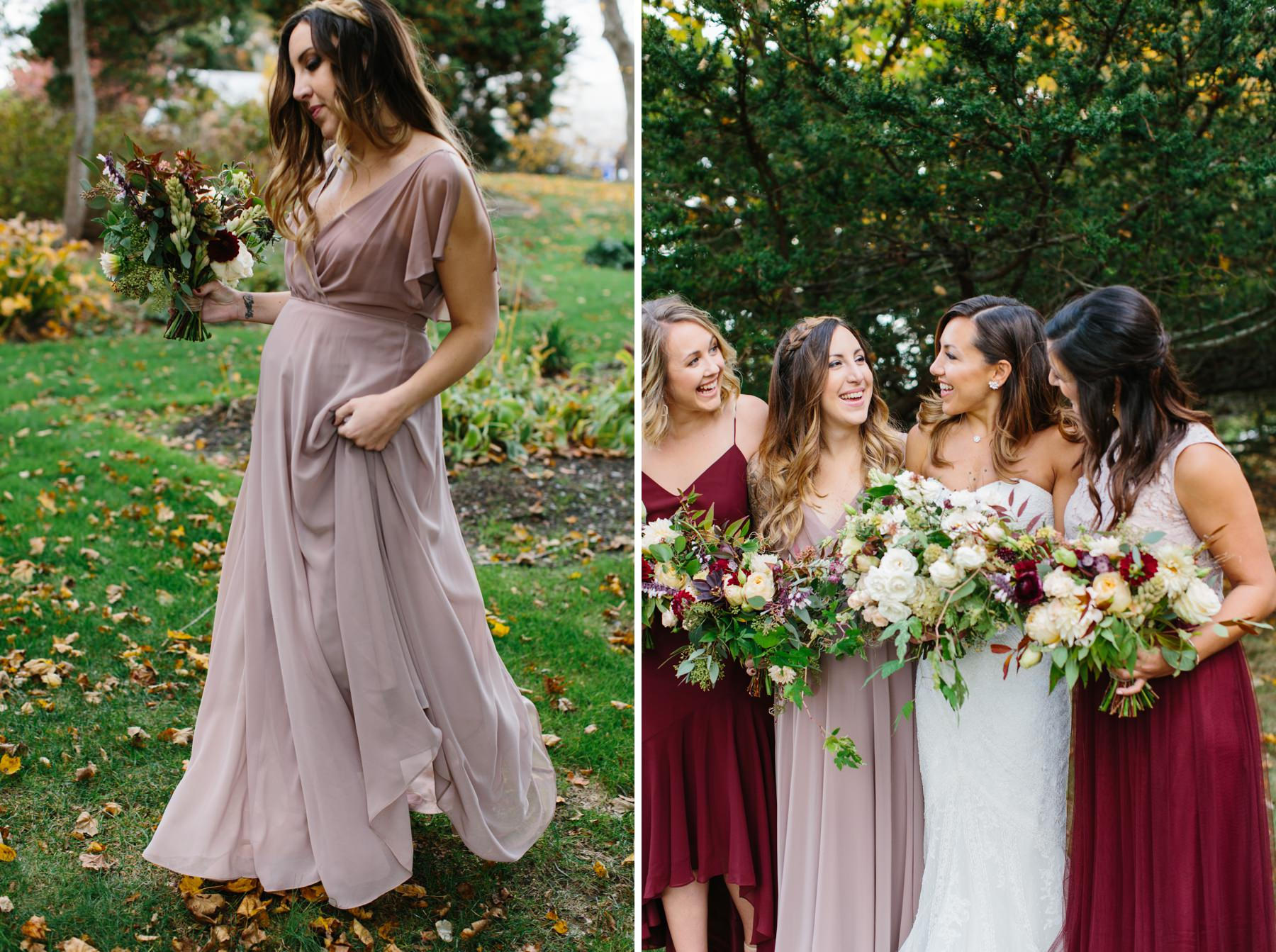taupe and burgundy wedding dresses