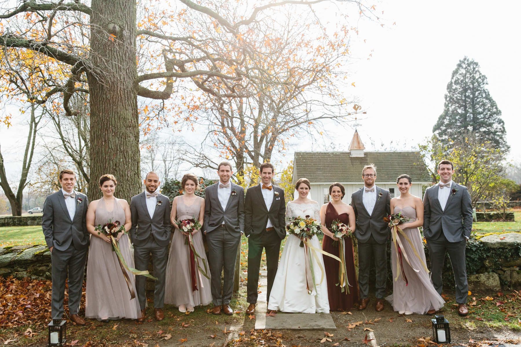 bridal party fall taupe red