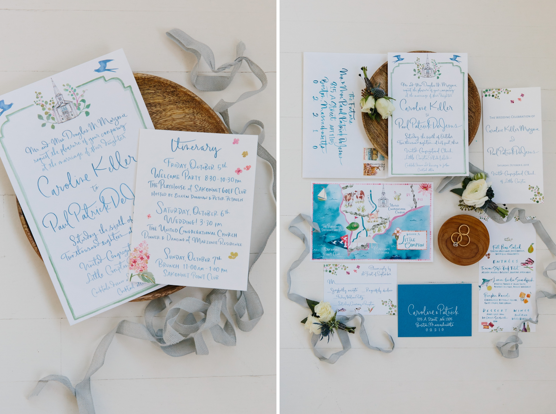 watercolor wedding flat lays li ward