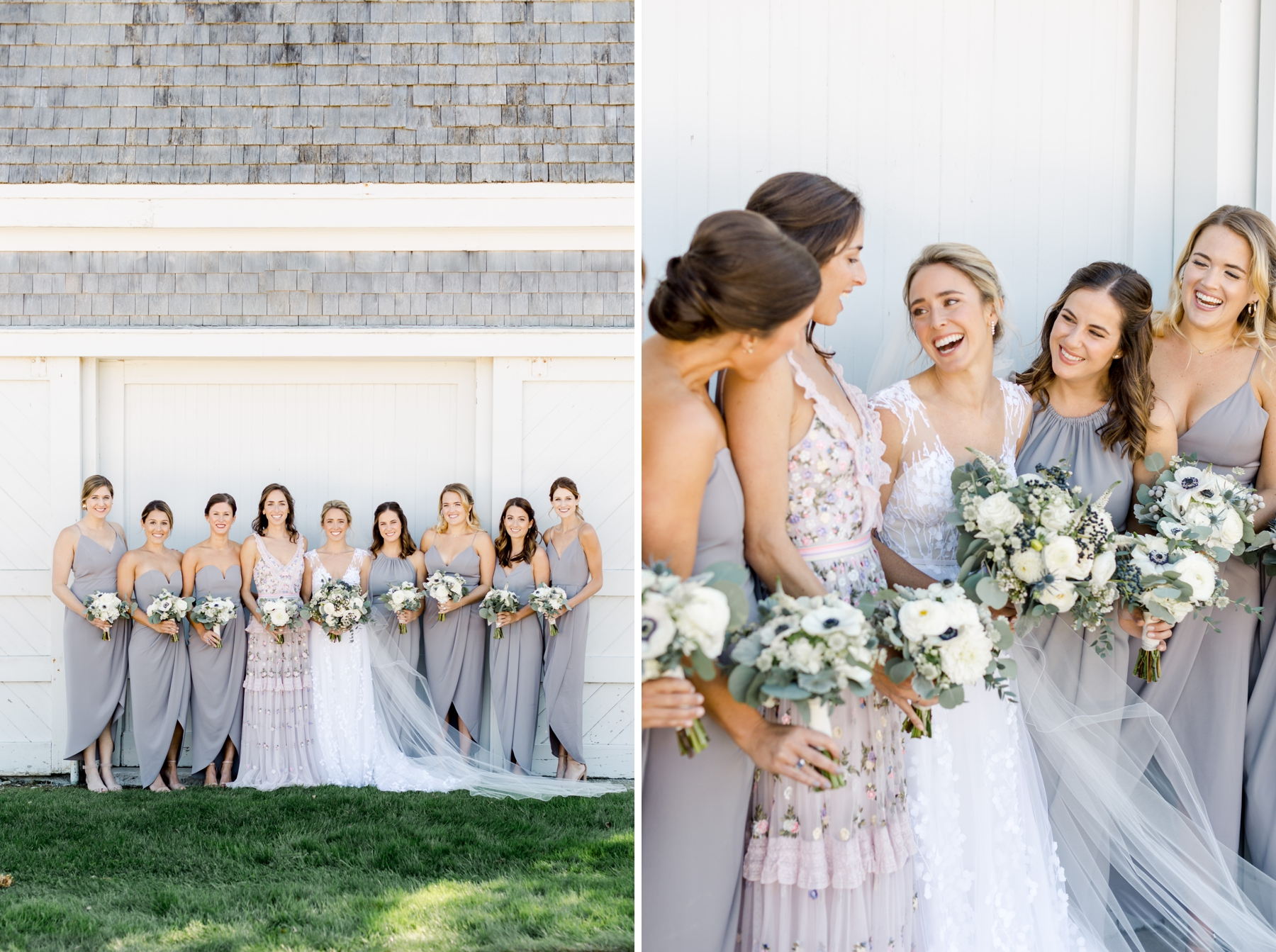 fashionable bridesmaids barn grey pink
