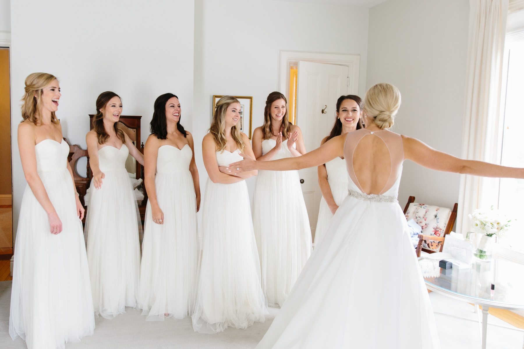 first look bridesmaids