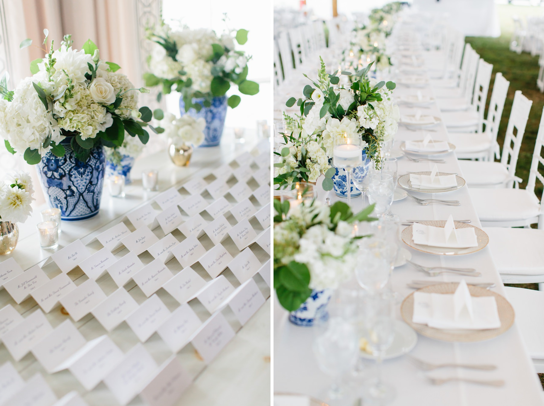 blue and white wedding ginger jars