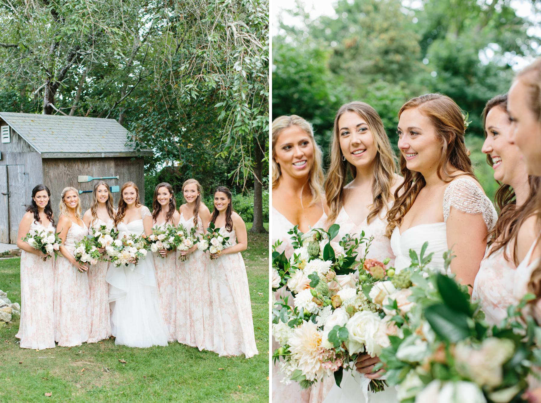 pink floral boho bridesmaids