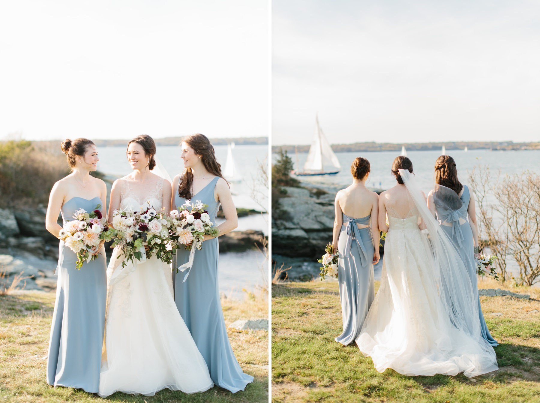 bride with sisters sailboats