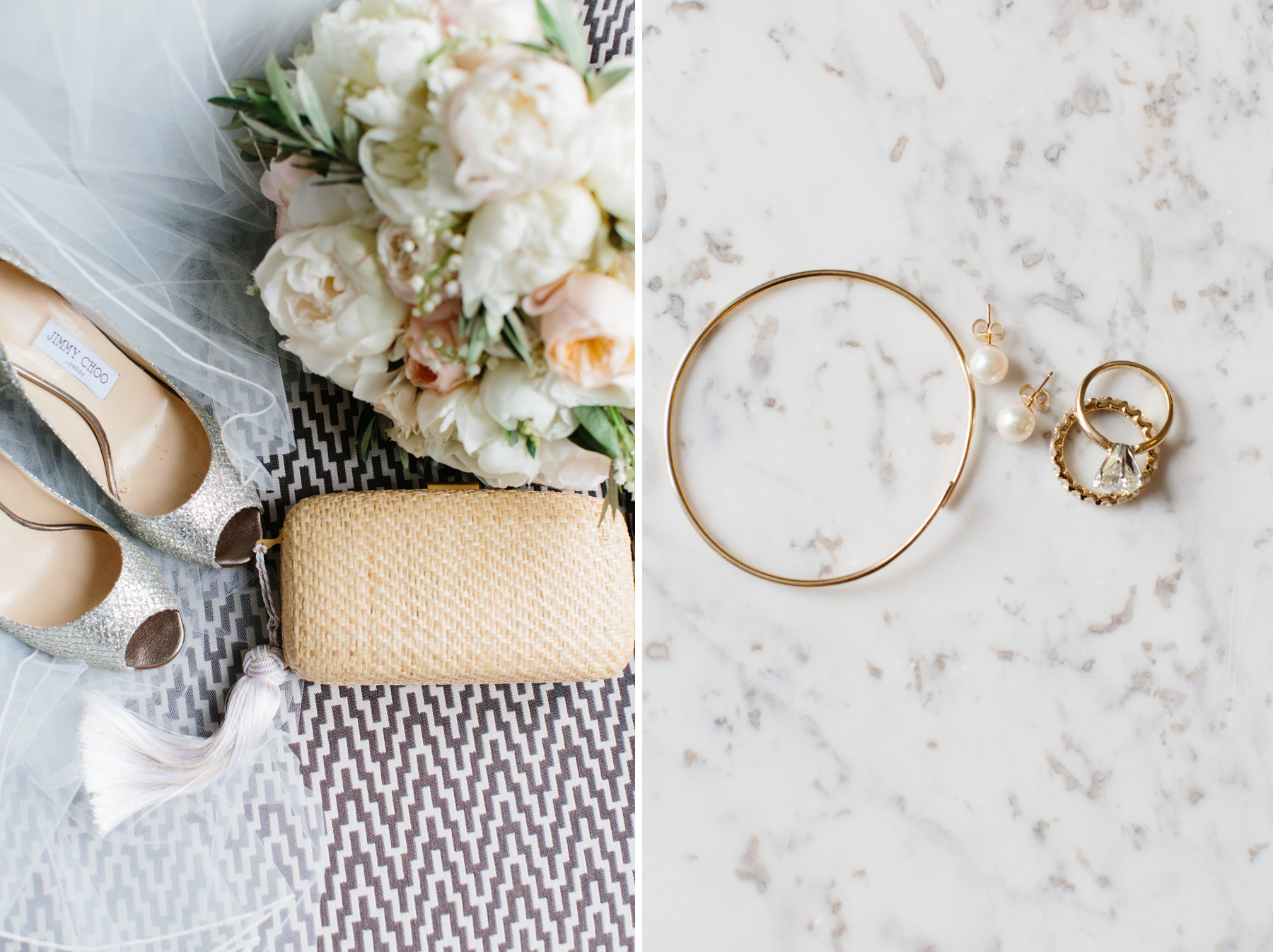 bridal details on marble