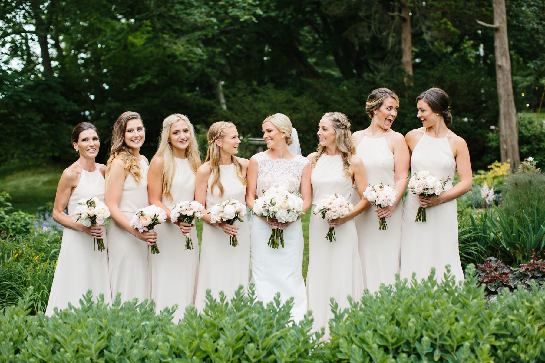 bridesmaids in garden at castle hill