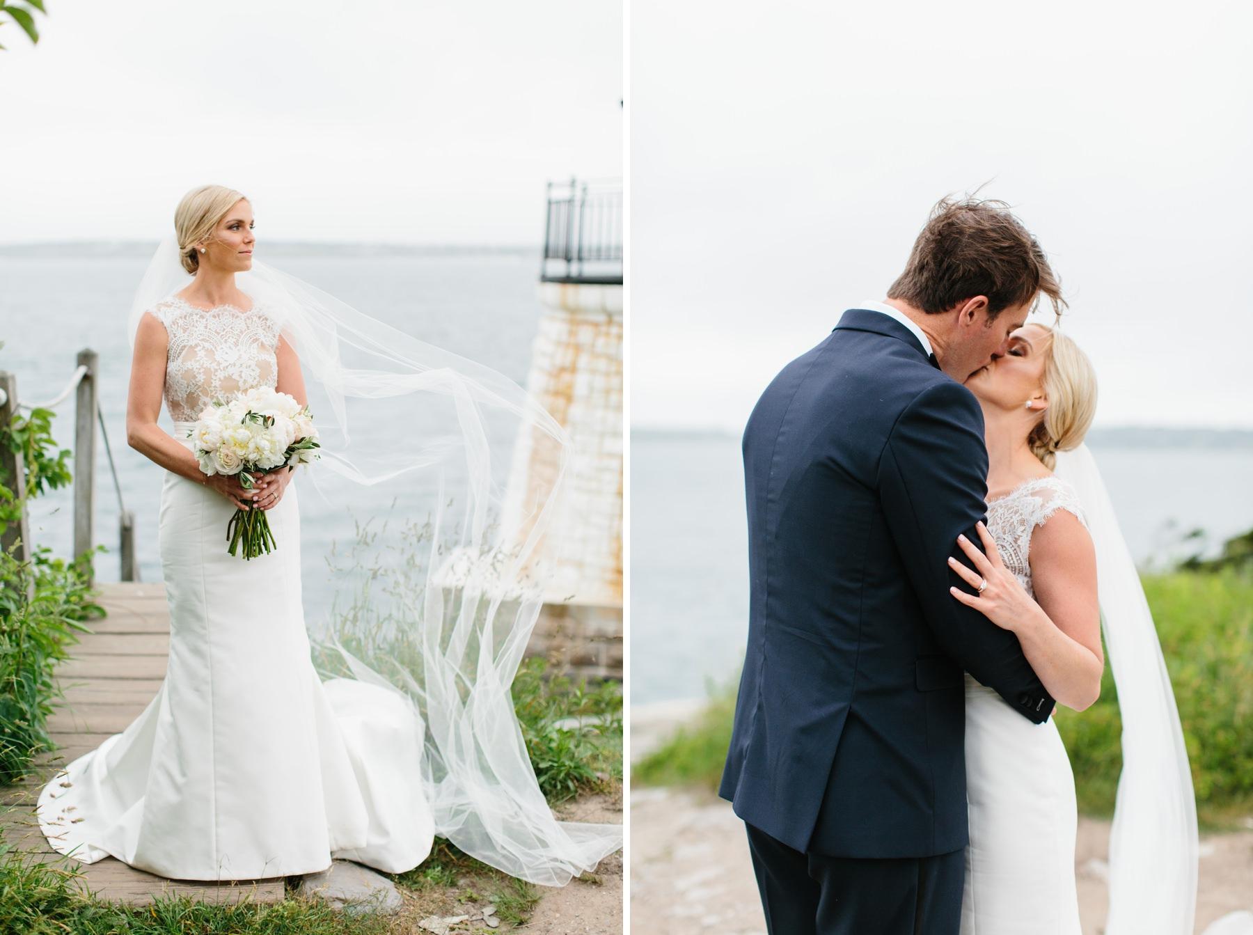 blone bride with sleek dress