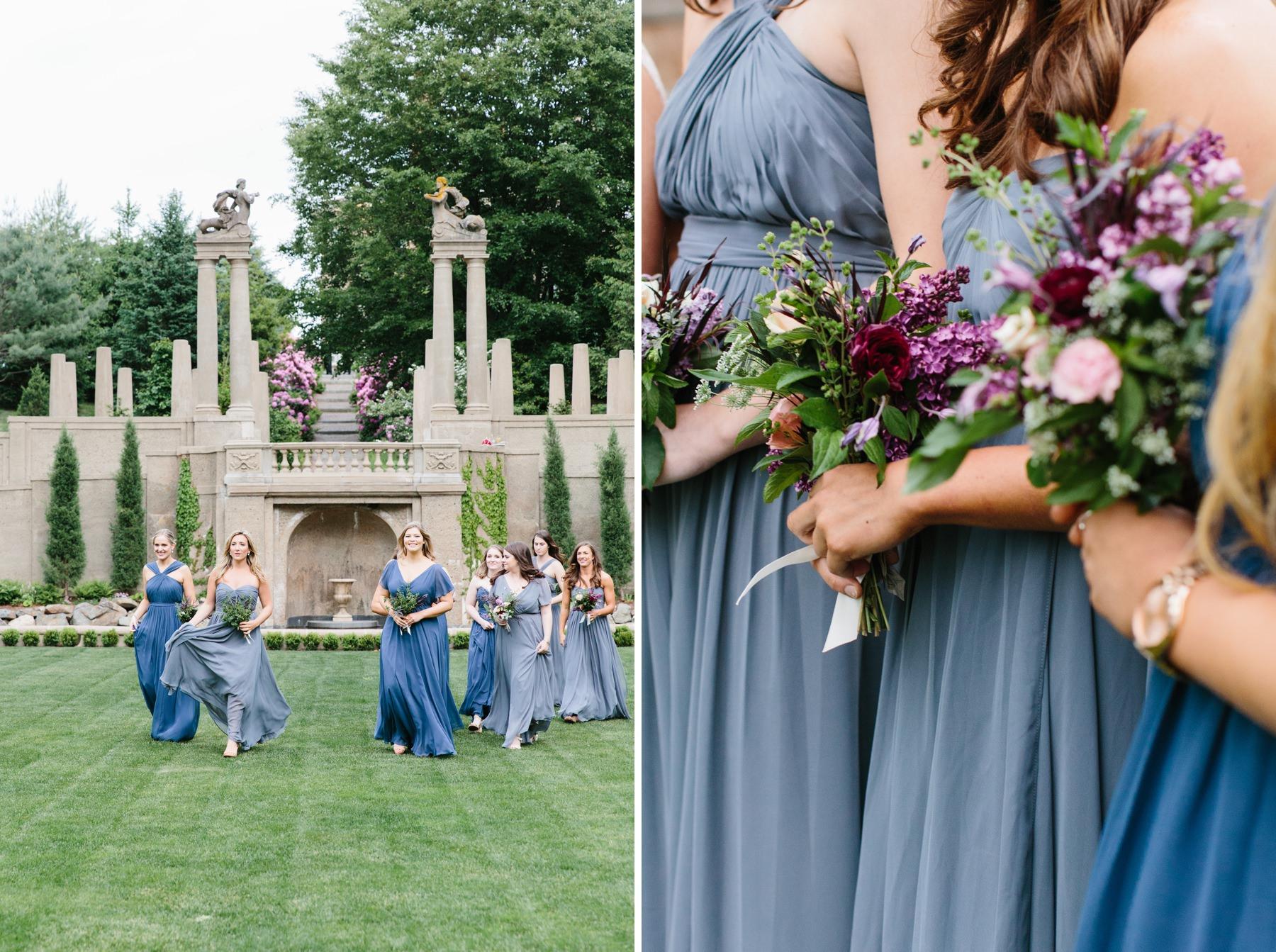 bridesmaids in italian garden