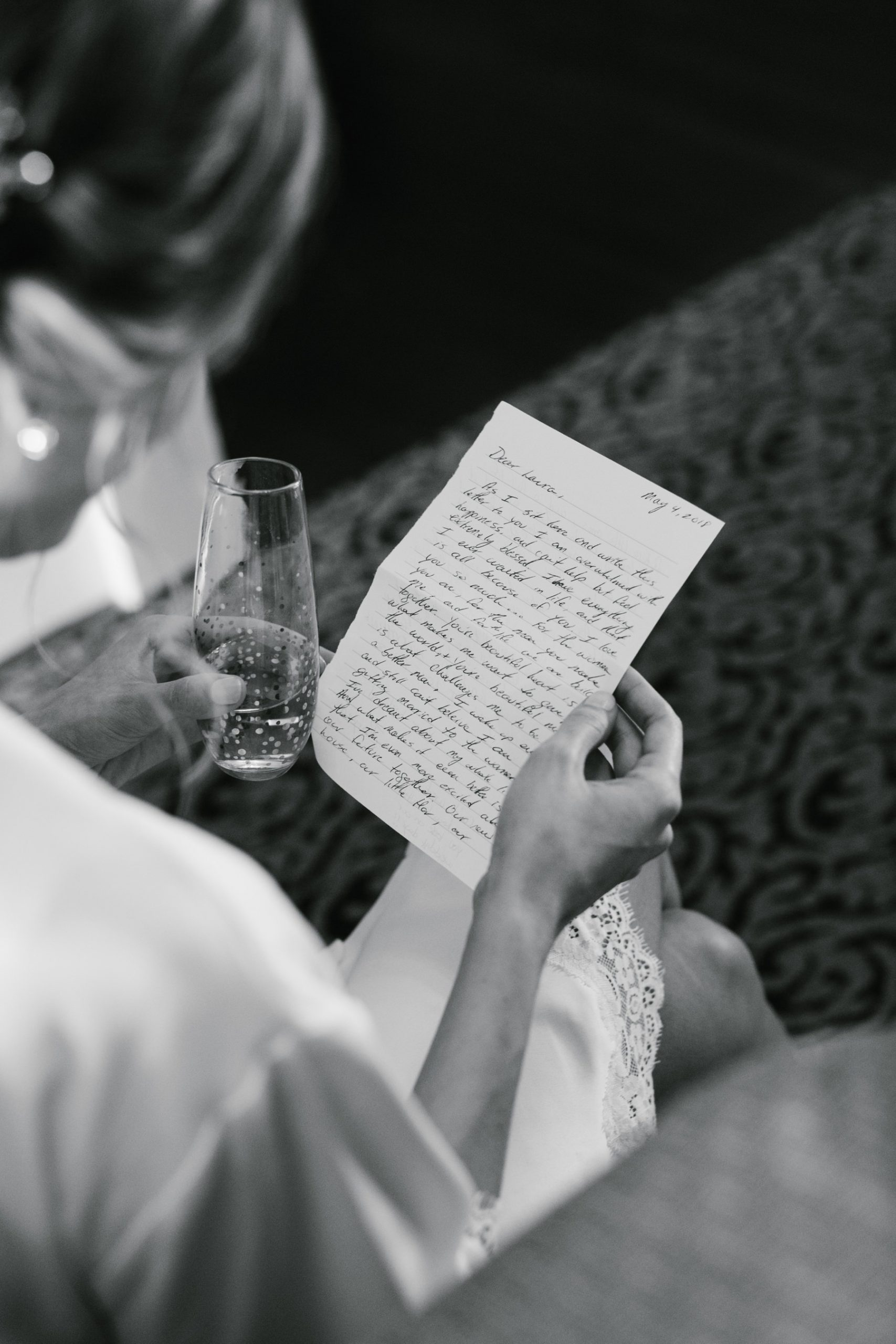 bride reading wedding note