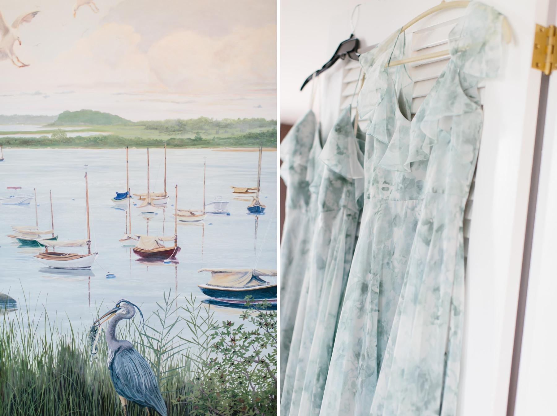 blue floral bridesmaids dresses