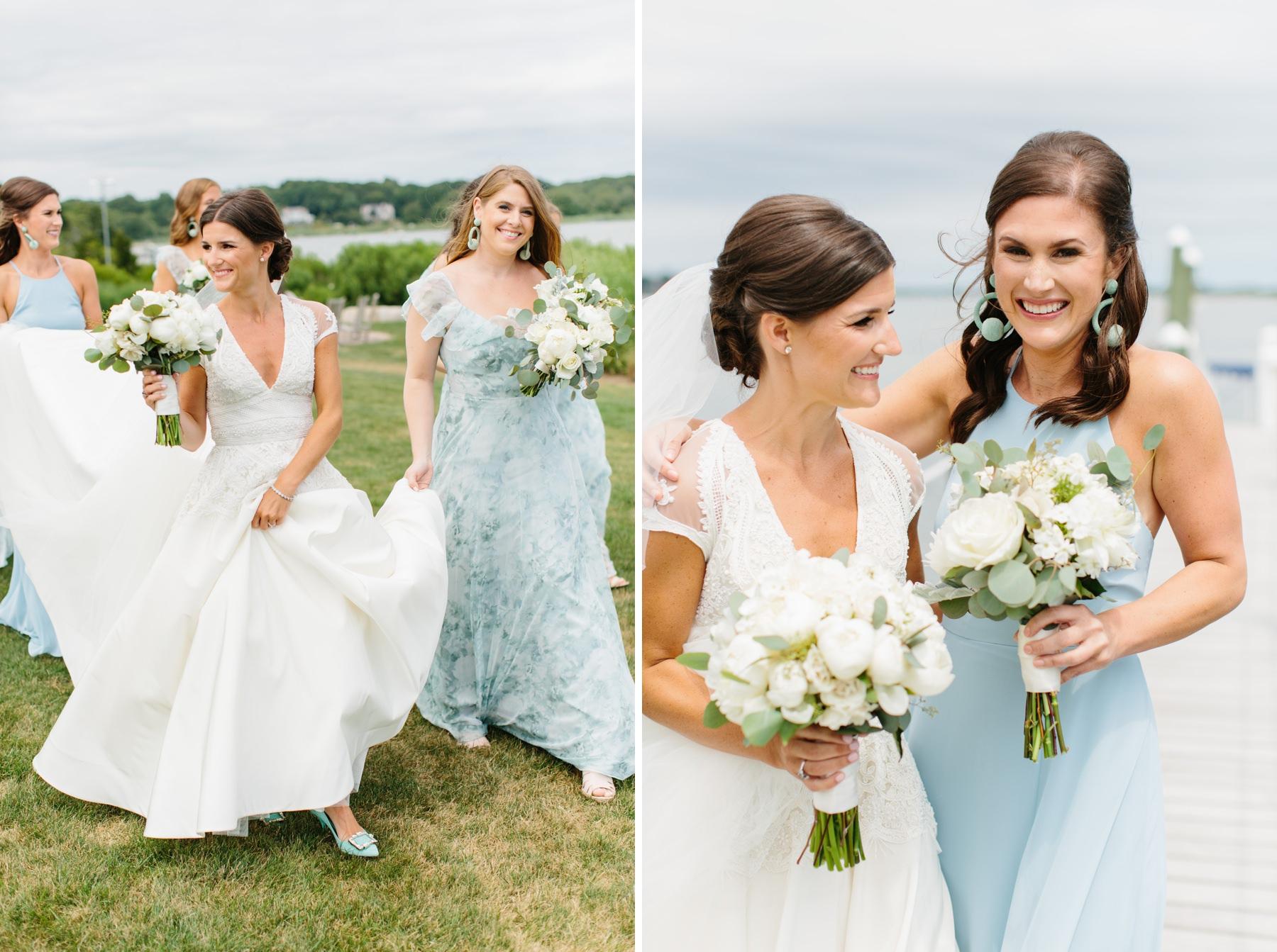 bride and bridesmaids candids