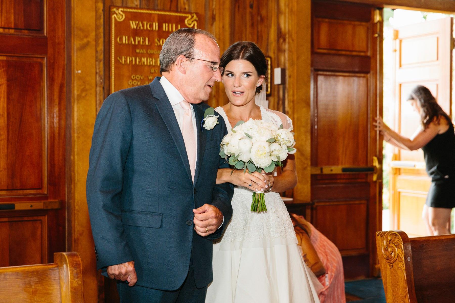 bride and dad candid
