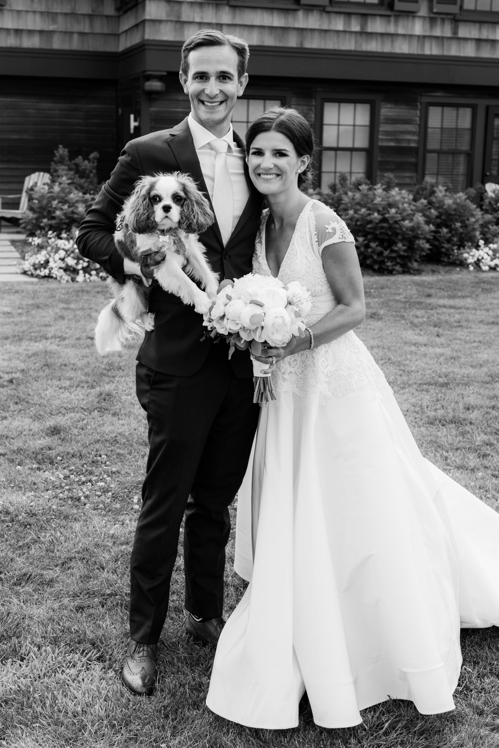 bride and groom and dog