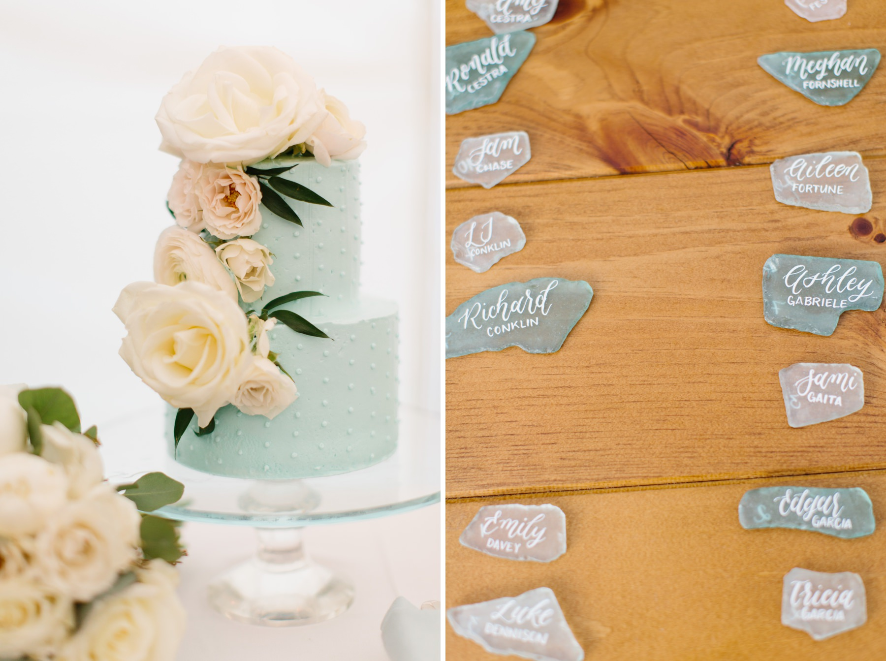 tiffany blue wedding cake and seaglass