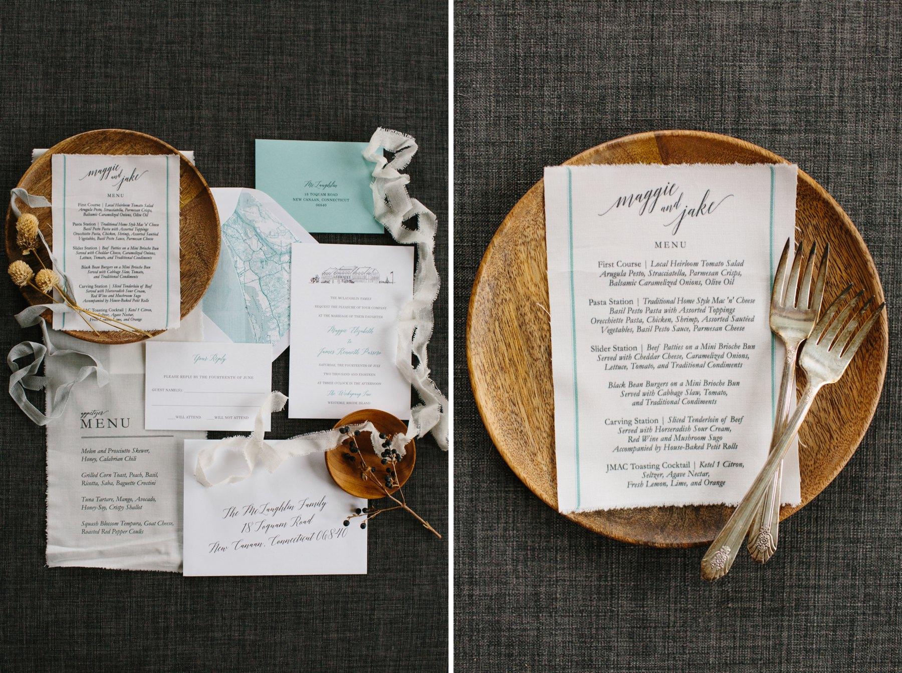 linen wedding menu